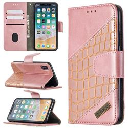BinfenColor BF04 Color Block Stitching Crocodile Leather Case Cover for iPhone XS / iPhone X(5.8 inch) - Rose Gold