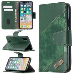 BinfenColor BF04 Color Block Stitching Crocodile Leather Case Cover for iPhone XS / iPhone X(5.8 inch) - Green