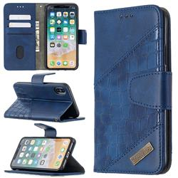 BinfenColor BF04 Color Block Stitching Crocodile Leather Case Cover for iPhone XS / iPhone X(5.8 inch) - Blue