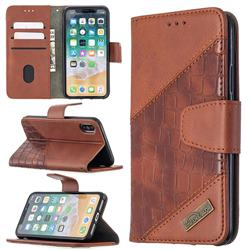 BinfenColor BF04 Color Block Stitching Crocodile Leather Case Cover for iPhone XS / iPhone X(5.8 inch) - Brown