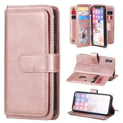 Multi-function Ten Card Slots and Photo Frame PU Leather Wallet Phone Case Cover for iPhone XS / iPhone X(5.8 inch) - Rose Gold
