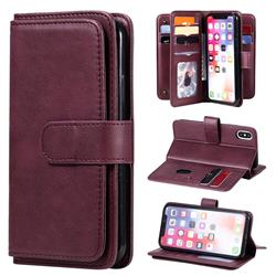 Multi-function Ten Card Slots and Photo Frame PU Leather Wallet Phone Case Cover for iPhone XS / iPhone X(5.8 inch) - Claret