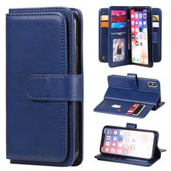 Multi-function Ten Card Slots and Photo Frame PU Leather Wallet Phone Case Cover for iPhone XS / iPhone X(5.8 inch) - Dark Blue
