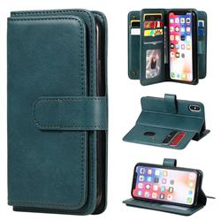 Multi-function Ten Card Slots and Photo Frame PU Leather Wallet Phone Case Cover for iPhone XS / iPhone X(5.8 inch) - Dark Green