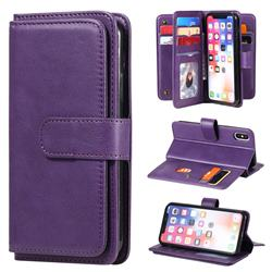 Multi-function Ten Card Slots and Photo Frame PU Leather Wallet Phone Case Cover for iPhone XS / iPhone X(5.8 inch) - Violet