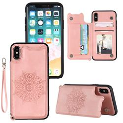 Luxury Mandala Multi-function Magnetic Card Slots Stand Leather Back Cover for iPhone XS / iPhone X(5.8 inch) - Rose Gold