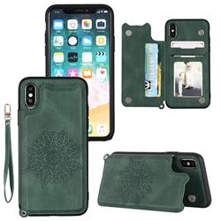 Luxury Mandala Multi-function Magnetic Card Slots Stand Leather Back Cover for iPhone XS / iPhone X(5.8 inch) - Green