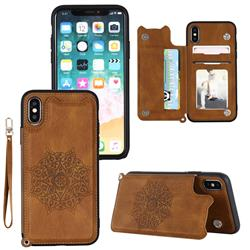 Luxury Mandala Multi-function Magnetic Card Slots Stand Leather Back Cover for iPhone XS / iPhone X(5.8 inch) - Brown