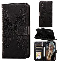 Intricate Embossing Vivid Butterfly Leather Wallet Case for iPhone XS / iPhone X(5.8 inch) - Black