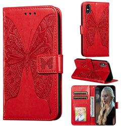 Intricate Embossing Vivid Butterfly Leather Wallet Case for iPhone XS / iPhone X(5.8 inch) - Red