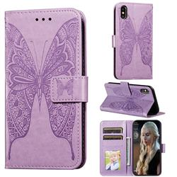 Intricate Embossing Vivid Butterfly Leather Wallet Case for iPhone XS / iPhone X(5.8 inch) - Purple