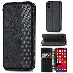 Ultra Slim Fashion Business Card Magnetic Automatic Suction Leather Flip Cover for iPhone XS / iPhone X(5.8 inch) - Black