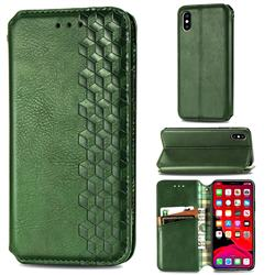 Ultra Slim Fashion Business Card Magnetic Automatic Suction Leather Flip Cover for iPhone XS / iPhone X(5.8 inch) - Green