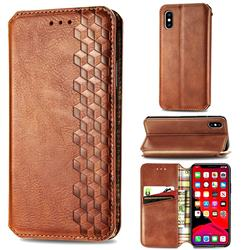 Ultra Slim Fashion Business Card Magnetic Automatic Suction Leather Flip Cover for iPhone XS / iPhone X(5.8 inch) - Brown