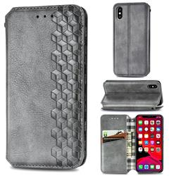 Ultra Slim Fashion Business Card Magnetic Automatic Suction Leather Flip Cover for iPhone XS / iPhone X(5.8 inch) - Grey