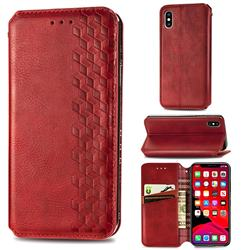 Ultra Slim Fashion Business Card Magnetic Automatic Suction Leather Flip Cover for iPhone XS / iPhone X(5.8 inch) - Red