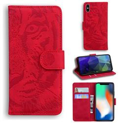 Intricate Embossing Tiger Face Leather Wallet Case for iPhone XS / iPhone X(5.8 inch) - Red