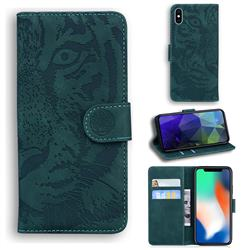 Intricate Embossing Tiger Face Leather Wallet Case for iPhone XS / iPhone X(5.8 inch) - Green
