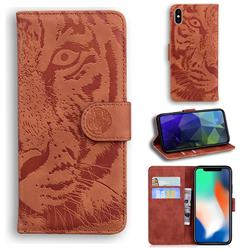 Intricate Embossing Tiger Face Leather Wallet Case for iPhone XS / iPhone X(5.8 inch) - Brown