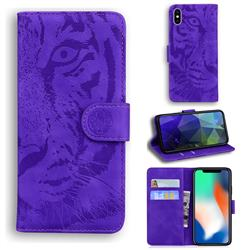 Intricate Embossing Tiger Face Leather Wallet Case for iPhone XS / iPhone X(5.8 inch) - Purple