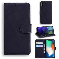 Retro Classic Skin Feel Leather Wallet Phone Case for iPhone XS / iPhone X(5.8 inch) - Black