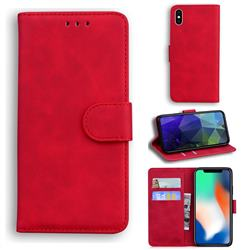 Retro Classic Skin Feel Leather Wallet Phone Case for iPhone XS / iPhone X(5.8 inch) - Red