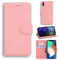 Retro Classic Skin Feel Leather Wallet Phone Case for iPhone XS / iPhone X(5.8 inch) - Pink
