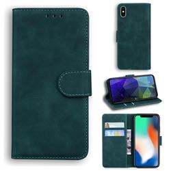 Retro Classic Skin Feel Leather Wallet Phone Case for iPhone XS / iPhone X(5.8 inch) - Green