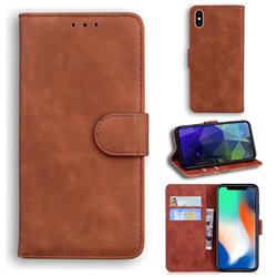 Retro Classic Skin Feel Leather Wallet Phone Case for iPhone XS / iPhone X(5.8 inch) - Brown