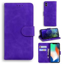 Retro Classic Skin Feel Leather Wallet Phone Case for iPhone XS / iPhone X(5.8 inch) - Purple