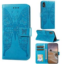 Intricate Embossing Rose Flower Butterfly Leather Wallet Case for iPhone XS / iPhone X(5.8 inch) - Blue