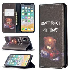 Chainsaw Bear Slim Magnetic Attraction Wallet Flip Cover for iPhone XS / iPhone X(5.8 inch)