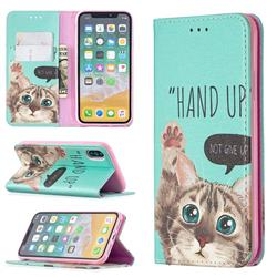 Hand Up Cat Slim Magnetic Attraction Wallet Flip Cover for iPhone XS / iPhone X(5.8 inch)