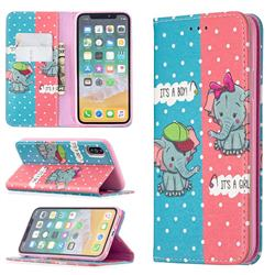 Elephant Boy and Girl Slim Magnetic Attraction Wallet Flip Cover for iPhone XS / iPhone X(5.8 inch)