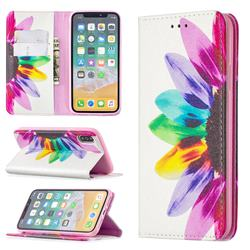 Sun Flower Slim Magnetic Attraction Wallet Flip Cover for iPhone XS / iPhone X(5.8 inch)