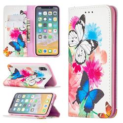 Flying Butterflies Slim Magnetic Attraction Wallet Flip Cover for iPhone XS / iPhone X(5.8 inch)