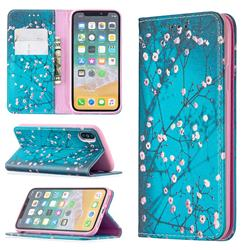 Plum Blossom Slim Magnetic Attraction Wallet Flip Cover for iPhone XS / iPhone X(5.8 inch)