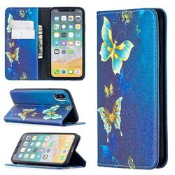 Gold Butterfly Slim Magnetic Attraction Wallet Flip Cover for iPhone XS / iPhone X(5.8 inch)