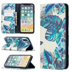 Blue Leaf Slim Magnetic Attraction Wallet Flip Cover for iPhone XS / iPhone X(5.8 inch)