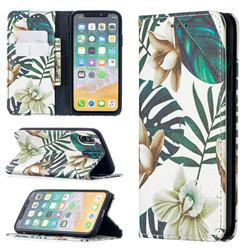Flower Leaf Slim Magnetic Attraction Wallet Flip Cover for iPhone XS / iPhone X(5.8 inch)
