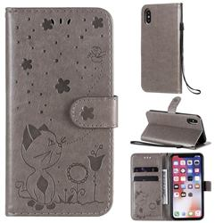 Embossing Bee and Cat Leather Wallet Case for iPhone XS / iPhone X(5.8 inch) - Gray