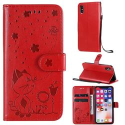 Embossing Bee and Cat Leather Wallet Case for iPhone XS / iPhone X(5.8 inch) - Red