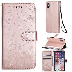 Embossing Bee and Cat Leather Wallet Case for iPhone XS / iPhone X(5.8 inch) - Rose Gold