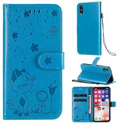 Embossing Bee and Cat Leather Wallet Case for iPhone XS / iPhone X(5.8 inch) - Blue