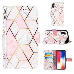 Pink White Stitching Color Marble Leather Wallet Case for iPhone XS / iPhone X(5.8 inch)