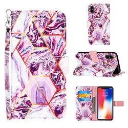 Dream Purple Stitching Color Marble Leather Wallet Case for iPhone XS / iPhone X(5.8 inch)