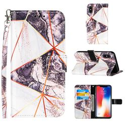 Black and White Stitching Color Marble Leather Wallet Case for iPhone XS / iPhone X(5.8 inch)