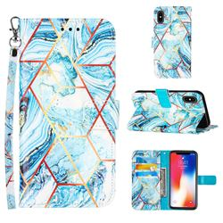 Lake Blue Stitching Color Marble Leather Wallet Case for iPhone XS / iPhone X(5.8 inch)