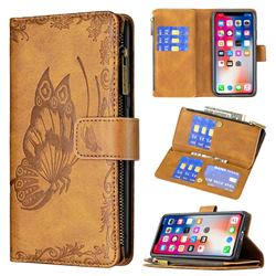 Binfen Color Imprint Vivid Butterfly Buckle Zipper Multi-function Leather Phone Wallet for iPhone XS / iPhone X(5.8 inch) - Brown
