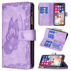 Binfen Color Imprint Vivid Butterfly Buckle Zipper Multi-function Leather Phone Wallet for iPhone XS / iPhone X(5.8 inch) - Purple